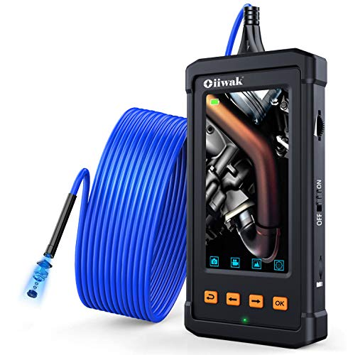 Oiiwak Industrial Borescope Camera 4.3'' IPS Screen 1080P HD Video Endoscope Inspection Camera Waterproof Semi-Rigid Tube Snake Camera with 6 LED Light for Car HVAC Cylinder Engine Checking(5M/16.4FT)