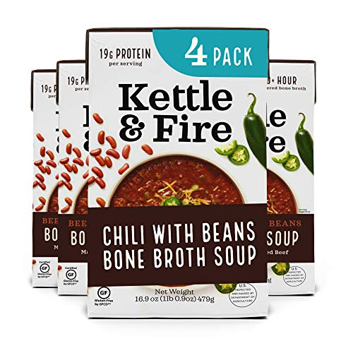 Chili with Beans and Grass Fed Beef and Bone Broth by Kettle and Fire, Pack of 4, Gluten Free Collagen Soup on the Go, Non GMO, 18g of protein, 16.9 fl oz