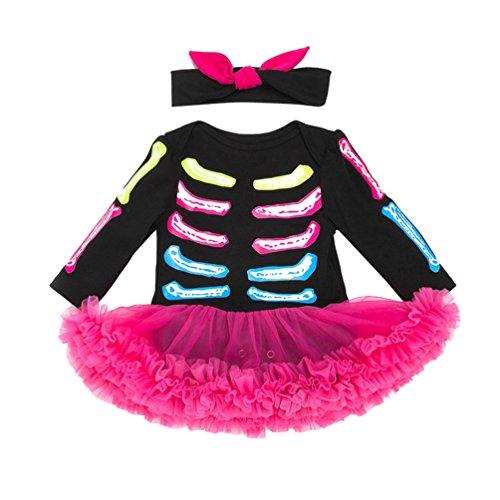 Anguang Bebé Chicas Tutú Mameluco Conjuntos Halloween Disfraz con Venda Pierna Lujoso Vestir como Imagen 66