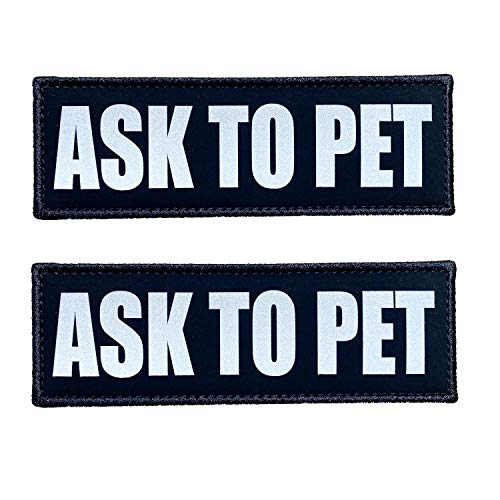 JUJUPUPS Black Reflective Dog Patches 2 Pack Service Dog ,in Training, DO NOT PET, Tags with Hook and Loop Patches for Vests and Harnesses (Ask to PET, 6x2 inch)
