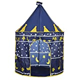 Childrens Teepee Play Tent With Floor Mat, Easy Installation Yurt Style Moon Stars Pattern Kids Castle Play Tent For Indoor And Outdoor Games Kids Play Tent Children's Pop Up Tent Playhouses