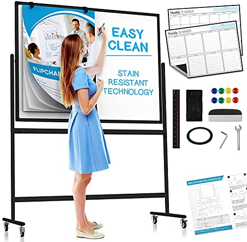 Large Black Mobile Rolling Whiteboard on Wheels: Stain Resistant Technology - 48x36 - Includes Big Flipchart Pad and Other Accessories - Portable Double Sided Dry Erase Magnetic White Board with Stand