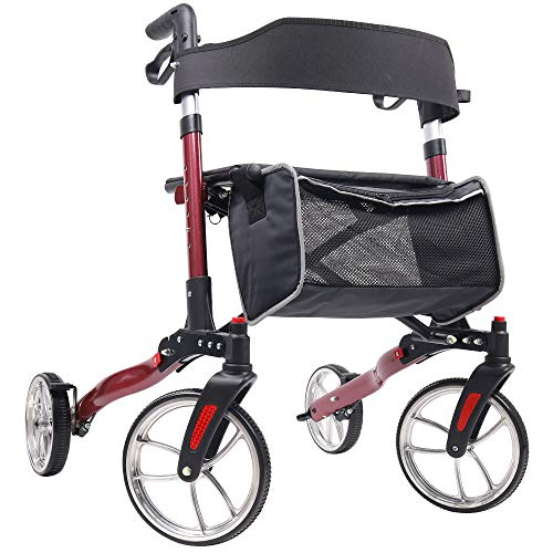 Give Me Medical Aluminum Rollator Walker10 inches Wheels Foldable Compact Rolling Walker with Seat and Lightweight Bag Red