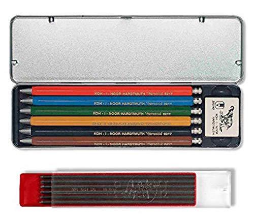 Koh-I-Noor VERSATIL 5217 - Druckbleistifte im Metalletui, unterschiedliche Farben (6 Stück) und Graphitminen 2mm 2B (12 Stück)