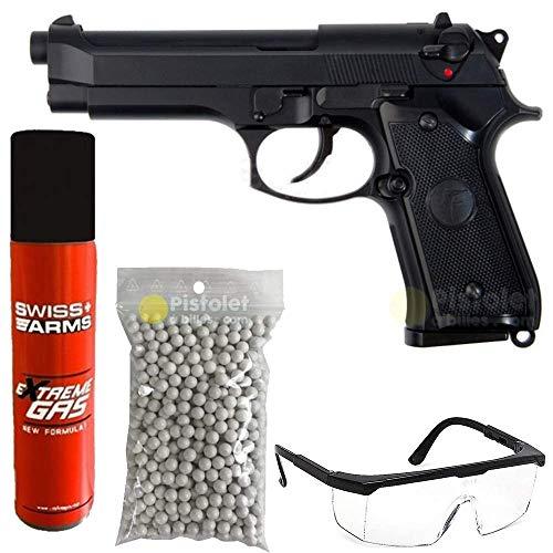 SAIGO Paquete Completo con Accesorios - Pistola para Airsoft, Modelo 92 Defense de Gas, Potencia: 0,5 Julio, Color Negro, Semi automático