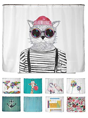 arteneur® - Hipster Katze Berlin - Anti-Schimmel Duschvorhang 240x200 - Beschwerter Saum, Blickdicht, Wasserdicht, Waschbar, 16 Ringe und E-Book mit Reinigungs-Tipps