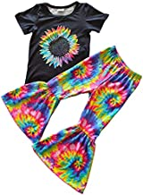 Baby Toddler Girl Tie Dye Design Bell Bottoms Pants Clothing Set Boutique Girl Outfits Black