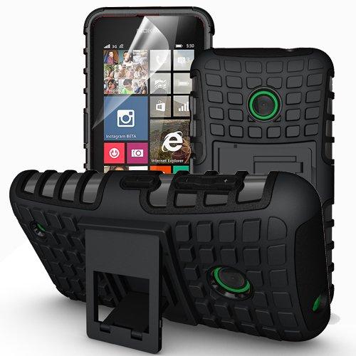 Outdoor Hybrid Case Panzer Tasche Cover Silikon Handytasche Hülle SCHUTZ Schutzhülle Bumper +Gratis Displayschutzfolie für Microsoft Lumia 535 Schwarz