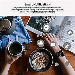 HONOR Smart Watch Magic Watch 2 (42 mm), Fitness Tracker Watch Hombre Mujer Smart Watch, 5 ATM Monitor de frecuencia cardíaca de muñeca, Pantalla a Color de 1.20 Pulgadas, GPS, Negro Mate