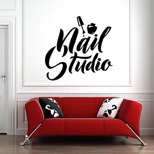 Nail Salon Mur Fenêtre Decal Autocollant Ongles Salon Amovible Art Polonais Manucure Pédicure Salon De Beauté Papier Peint Pour Chambre 32X30 Cm