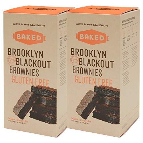 BAKED Brooklyn Blackout Brownie Gluten Free Mix with Dark Chocolate Chunks, Real Vanilla, Dark & Black Cocoa Powder. Makes 16 Brownies. (Pack of 2)