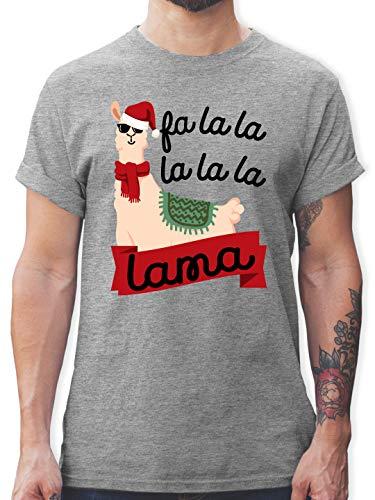 Weihnachten & Silvester - Falalala lama - schwarz - XL - Grau meliert - Rundhals - L190 - Tshirt Herren und Männer T-Shirts