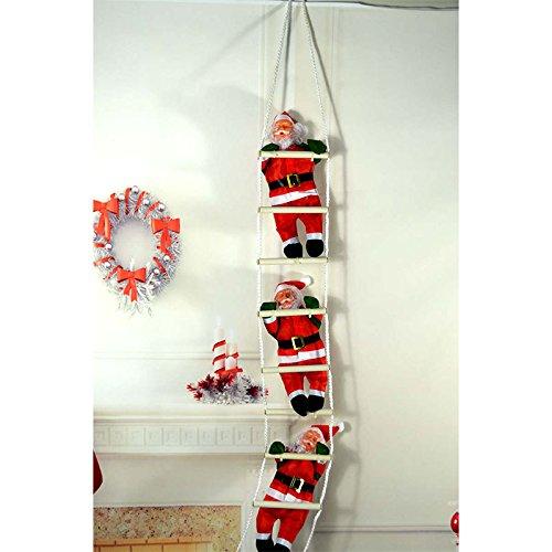 LISRUILY Papai Noel sobe a escada de corda da árvore de Natal para decorar decorações de pendurar internas e externas, adequado para festa de Natal, porta de família, decoração de parede, brinquedos