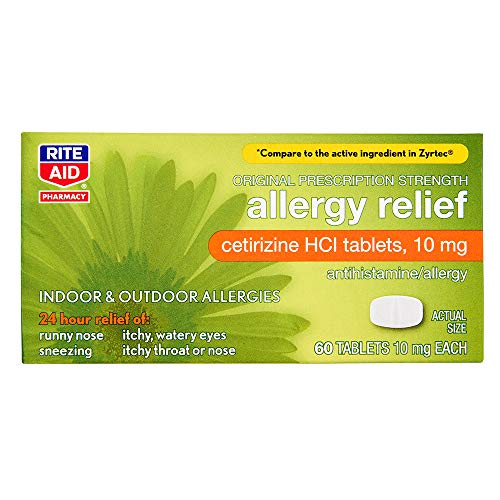 Rite Aid 24 Hour Allergy Relief with Cetirizine HCI Tablets, 10 mg - 60 Count | Allergy Medicine for Indoor & Outdoor Allergies