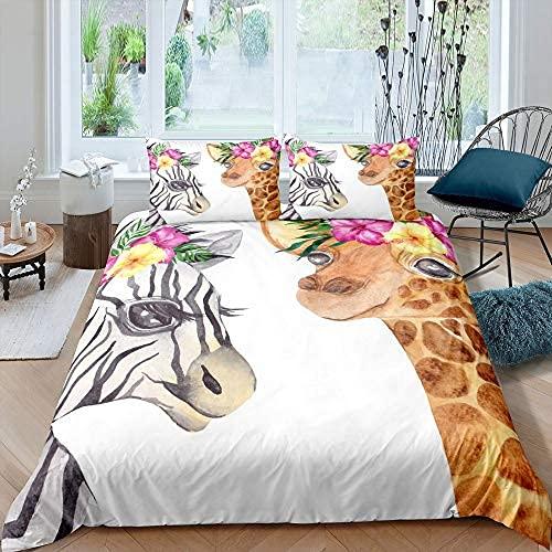 Juego de funda nórdica de jirafa, funda de edredón de cebra, juego de cama de animales de safari africano para niños, ropa de cama con temática de zoológico de teñido anudado de dibujos animados flora