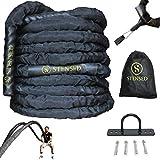 STENSED Battle Rope - Cuerda de Batalla con Kit de Correa de Anclaje 100% poliéster Dacron 9/12/15m 38/50 de diámetro Ideal para Crossfit Musculación, Entrenamiento Cardio