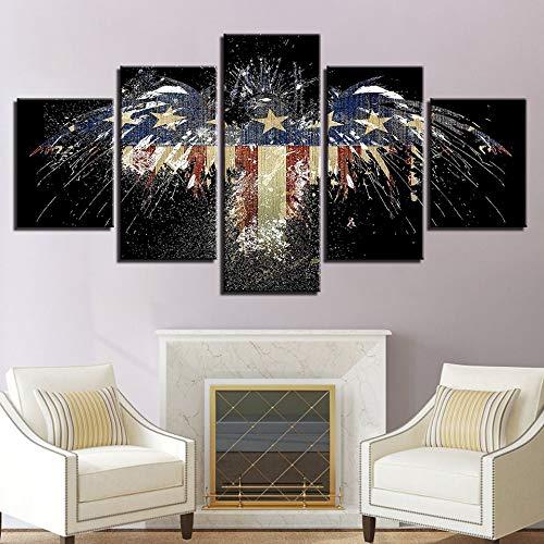 ZSHSCL kunstdruk op canvas, decoratief, kunstdruk, bedrukt, sterren, creatief en gestreept, motief adelaar, 5-delig schilderwerk, afbeeldingen op canvas, voor thuis, modern decoratiemateriaal Large