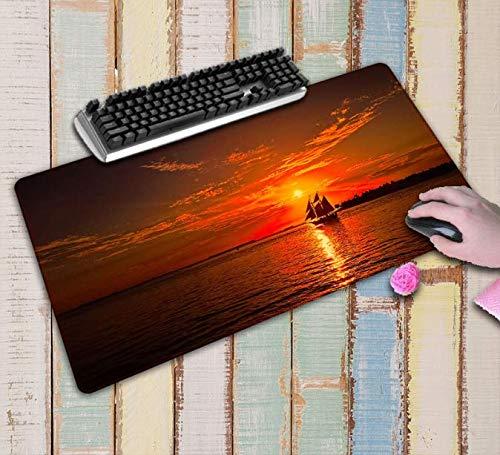 Boot Zeilen In De Zonsondergang En De Zee Computer Gaming Grote Mousemats Grootte Rubber Mouse Pad Mat Tafelbeschermer 900 * 400 * 3Mm