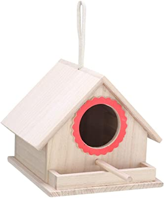 Hanging Wooden Bird House Durable Birds Nest Pet Box Cockatiels Feeding Box Bird House for Home Garden Decoration