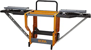 Bora Portamate Miter Saw Stand Work Station | Mobile Rolling Table Top Workbench | Orange & Grey with Folding Wing Extensions