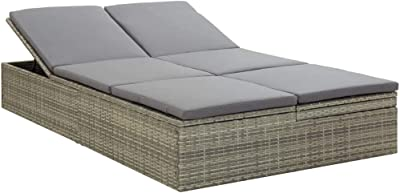 Outdoor Daybed,Patio Accent Sofa Sand Daybed Convertible Sun Bed with Cushion Poly Rattan Gray