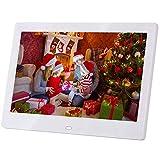 Marco de fotos digital de 10 pulgadas, resolución 1024 x 600 IPS con reloj y calendario, compatible con MP3, MP4, USB, SD/MMC, marco de fotos digital con mando a distancia