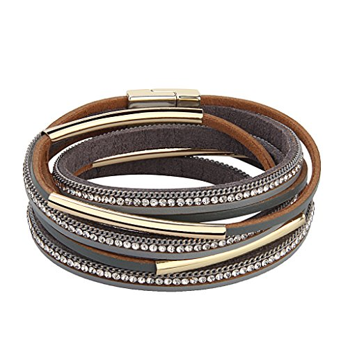 TASBERN Casual Women Leather Bracelet Crystal Metal Tube Wrap Cuff Bangle with Magnetic Clasp for Girls Gift ¡