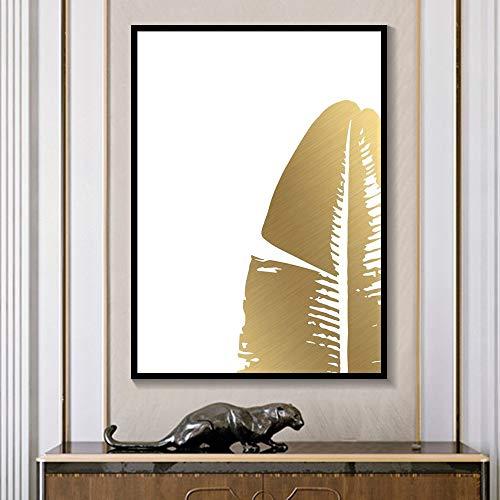 Rahmenlose Malerei Abstrakte Goldfolie Aquarell strukturierte Leinwand minimalistische Kunst Wand Pflanze Schlafzimmer Wohnzimmer Wohnkultur ZGQ3205 60X80cm