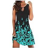 Dress for Women Summer Casual Sexy Sleeveless Floral Print Sundress Loose Beach Mini Dress