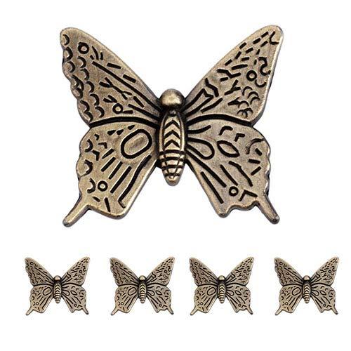 Lot de 5 boutons de porte de placard de style vintage en forme de papillon 43 mm Bronze antique