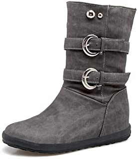 Veveca Women Side Buckle Outdoor Slouch Waterproof Faux Fur Warm Short Booties Fashion Calf Flat Boots