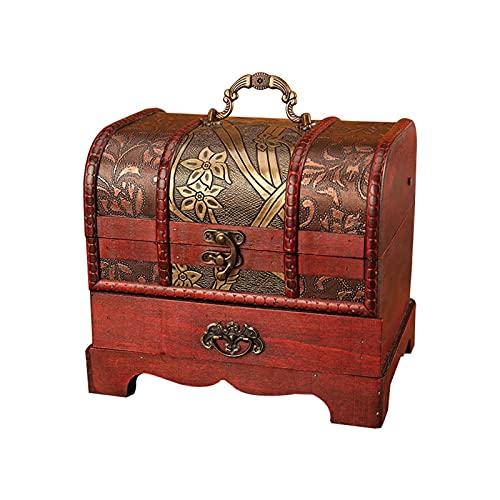 xinlianxin Caja organizadora de joyería grande con cerradura de metal, hecha a mano, decorativa de madera, para el tesoro, regalo (color: flor)