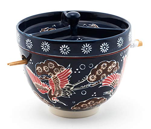 Multi Purpose Japanese Ceramic Ramen Noodle Bowl With Chopsticks And Condiment Lid.