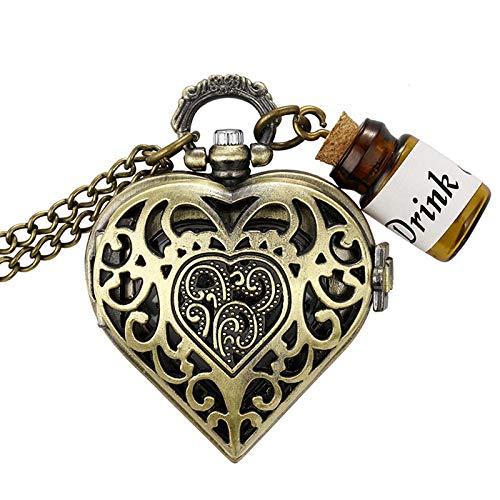 Collar de Reloj de Bolsillo en Forma de corazón de Bronce Botella pequeña Drink Me Alicia en el país de Las Maravillas Reloj de Bolsillo de Cuarzo Cadenas Pendientes Regalos marrón