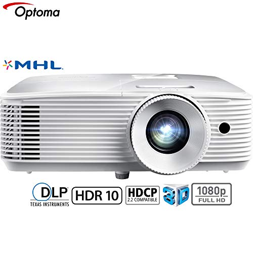 Optoma 3400 Lumens 1080p Home Theater Projector -White (HD27HDR) - (Renewed)