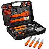 Home-Complete Wood BBQ Grill Tool Set- 22 Pc Stainless Steel Barbecue Accessories with Wooden Handles, Case,4 Steak Knives, Spatula, Tongs