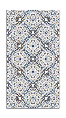 Panorama Alfombra Vinílica Hidráulica Tipo Oriental Azul 80x150 cm - Alfombra Cocina Vinilo - Alfombra Salón Antideslizante e Ignífuga - Alfombras Grandes - Alfombras PVC