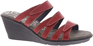 Propét Women's Lexie Wedge Sandal, Red, 10 Wide