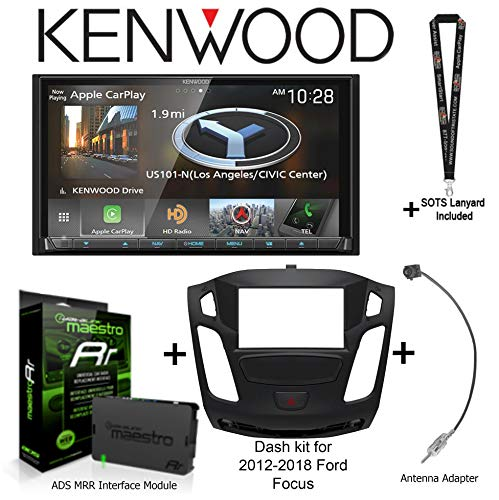 """Kenwood DNX875S 6.95"""" Navigation Receiver w Apple CarPlay/Android Auto, iDatalink Maestro KIT-FOC1 Dash kit for 2012-2018 Ford Focus, ADS-MRR Interface Module and BAA22 Antenna Adapter + SOTS Lanyard"""