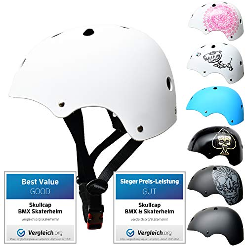 Skullcap® Skaterhelm Kinder Weiß White Line - Fahrradhelm Jungen Mädchen ab 6 Jahre Größe 53-55 cm - Scoot and Ride Helmet Kids - Skater Helm für BMX Scooter Inliner Fahrrad Skateboard Laufrad