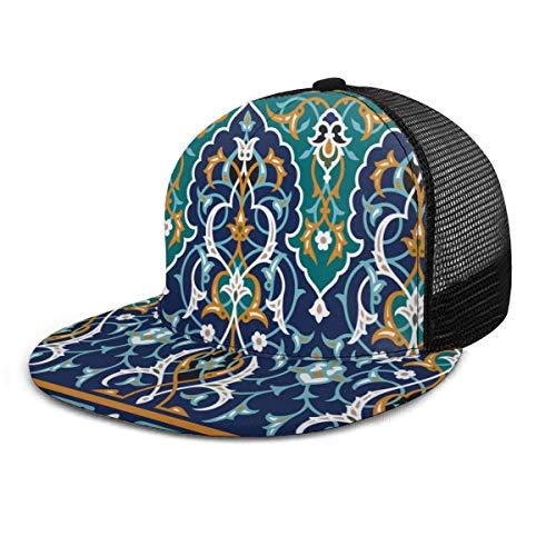 Inaayi Baseballmütze Marokkanische orientalische Blütenblätter Vintage Mesh Trucker Hut Plaid Flat Baseball Caps für Herren Damen Verstellbarer Strapback schwarz