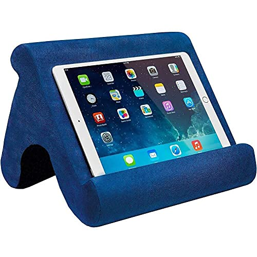 Tablet Pillow Stand - Tablet Holder Dock for Bed with Multi-Viewing Angles , Compatible with iPad Pro 9.7, 10.5,12.9 Air Mini 4 3, Kindle, Galaxy Tab, E-Reader (Blue)