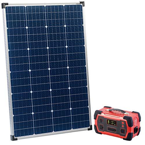 reVolt Solar Akku: Powerbank & Solar-Konverter mit mobilem 110-Watt-Solarpanel, 216Ah (Stromspeicher)