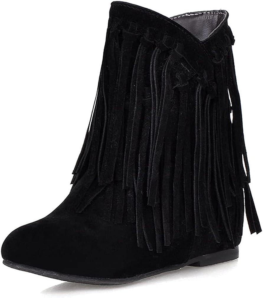 SO SIMPOK Womens Tassel Hidden Wedge Heel Ankle Boots Fashion Ro