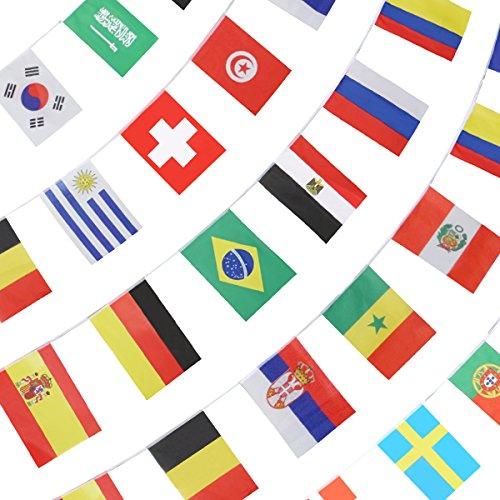 Anley 2018 Weltmeisterschaft String Flagge, Gruppenspiel 32 Teams Länder Fußball Dekoration Banner für Restaurants, Sportbars, Game Night - 33 Fuß 32 Flaggen