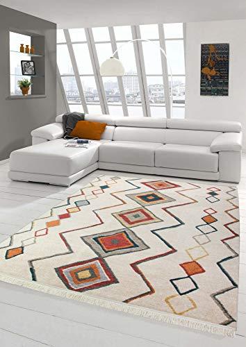 Merinos Disegno Kilim di tappeti orientali con Ornamenti in Rosso Beige Giallo Grigio Größe 160x230 cm