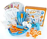 The Sneaky Chef Kids Baking and Cooking Set 37 Piece BPA Free, Child-Safe Essential Junior Utensils, Cooking Protection, Storage Case, Cookie Cutters, and 7 Healthy Recipe Cards - Ages 6+ Years