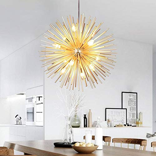 Golden Sputnik Chandelier Ceiling Light Lamp Pendant Lighting Fixture E14 Light (Dia 22-Inch)