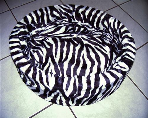 Flauschiges Hundebett für kleine Hunde und auch Katzen (Zebra schwarz)