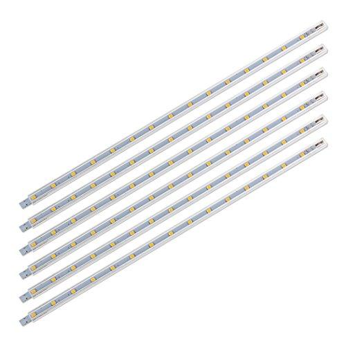 SEBSON® LED Leiste 12V warmweiß 6-tlg - Unterbauleuchte 30cm Küche, Lichtleiste mit Stecker und Schalter - 8,8x6,7x300mm